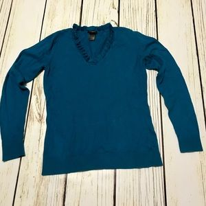 Ann Taylor Blue Sweater with Ruffle V-Neck